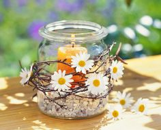 glass jar, wire, silk flowers, sand, candle holder