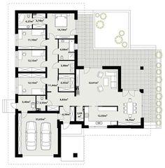 DOM.PL™ - Projekt domu TP Arteo 3 CE - DOM TP2-19 - gotowy koszt budowy Modern Bungalow Exterior, Bungalow House Design, Small House Design, One Storey House, Revit, Modern Barn House, House Blueprints, Flat Roof, Concept Architecture