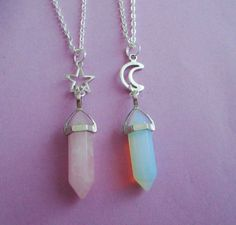 Opalite or rose quartz crystal point necklace, moon necklace, pastel goth, kawaii, grunge  #RePin by AT Social Media Marketing - Pinterest Marketing Specialists ATSocialMedia.co.uk