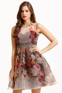 Little Mistress Floral Organza Fit and Flare Dress - Little Mistress from Little Mistress UK
