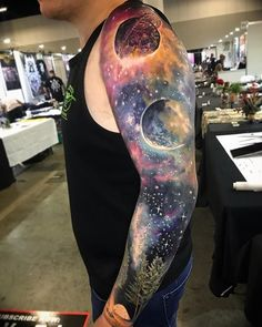 Tattoos for men Galaxy Tattoo Sleeve, Space Tattoo Sleeve, Full Sleeve Tattoo Design, Full Sleeve Tattoos, Sleeve Tattoos For Women, Tattoos For Women Small, Tattoos For Guys, Galaxy Tattoos, Small Tattoos
