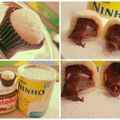 Brigadeiro de Leite Ninho com recheio de Nutella