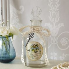 Bottle with Lace & Key - Savon Paris
