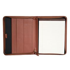 Royce Leather Zippered Convertible Padfolio, Brown