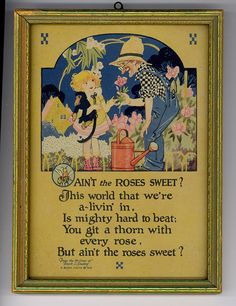 1920s Framed Buzza Saying / Motto: Ain't the Roses by AttiCuties