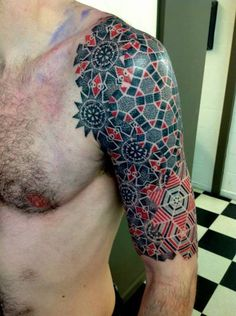 Red & black geometric stipple work half sleeve tattoo   Vincent Hocquet