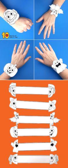 - My Pictures - Halloween Printable Bracelets – # Bracelets crafts crafts # - Theme Halloween, Halloween Tags, Halloween Crafts For Kids, Holidays Halloween, Fall Crafts, Holiday Crafts, Halloween Printable, Printable Halloween Decorations, Bricolage Halloween