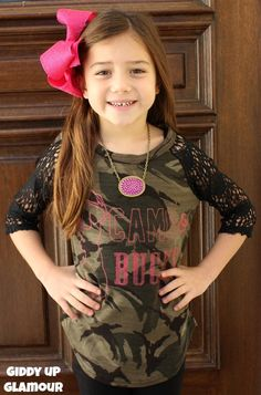 Kids Camo Bucks in Pink Glitter on Camo Baseball Tee with Black Crochet Sleeves www.gugonline.com $24.95