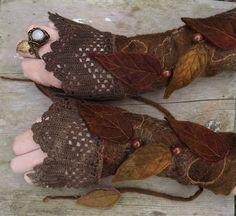 Forest Cuffs Faerie Cuffs Vintage lace cuffs by folkowl on Etsy