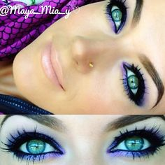 Purple smokey eye , I need to try this if it'll make my green eyes pop like that!