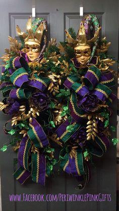 Mardi Gras Wreath & Teardrops for double doors! www.facebook.com/PeriwinklePinkGifts https://www.etsy.com/shop/PeriwinkleSilks