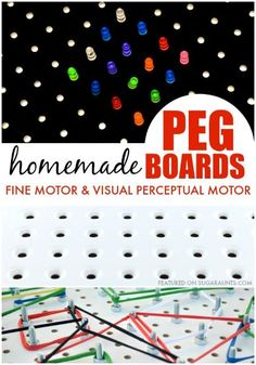 Homemade Peg board activities and ideas for kids from an Occupational Therapist.