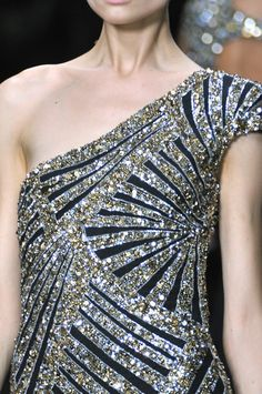 Silver and black sparkling sequin, beaded and crystal jewel encrusted dress (runway couture gown)