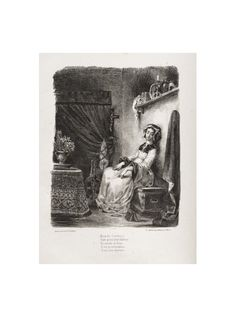 Best Eug ne Delacroix Illustrations for Faust Marguerite with the wheel