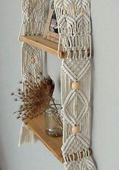Unique Handmade Macrame shelf, double Hanging Shelf, Wall Boho Chic, vintage Home Decor, floating wood modern crochet shelf Macrame Design, Macrame Art, Macrame Projects, Macrame Knots, Macrame Modern, Etsy Macrame, Modern Crochet, Crochet Home, Rideaux Design