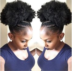 Quick & Easy Natural Hairstyles - Curly Girl Swag Twists in the Front & High Afro - Hairstyles Cabello Afro Natural, Pelo Natural, Natural Hair Updo, Natural Hair Care, Natural Hair Styles, Natural Shampoo, Easy Natural Hairstyles, Natural Hair Accessories, Afro Puff