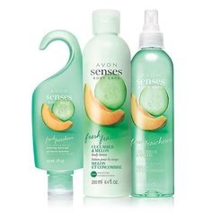 Enjoy a fresh feeling with the fragrance of crisp cucumber and juicy melon accented with lush violet leaf. A $24 value, this trio includes:• Avon Senses Fresh Cucumber & Melon Shower Gel - 5 fl. oz. $6 value• Avon Senses Fresh Cucumber & MelonBody Lotion - 8.4 fl. oz. $8 value• Avon Senses Fresh Cucumber & MelonBody Spray - 8.4 fl. oz. $10 value