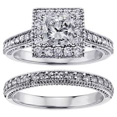 Platinum 1 2/5ct TDW Square Halo Princess-cut Diamond Engagement Bridal-set