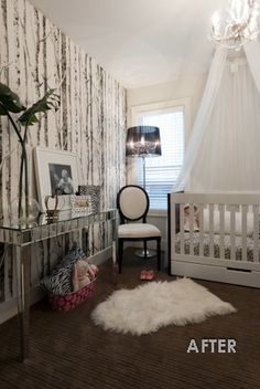 "Girls Nursery Room Canopy Over Crib. i love the ""wooded"" walls! so girly yet outdoorsy like me and my future children"