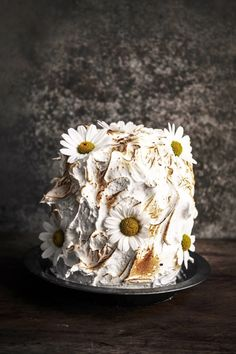 chamomile honey and lemon baked alaska | so a frozen dessert was something i needed. i loved the idea of making a baked Alaska with a difference and the flavours were lovely together. i made chamomile and honey ice cream, on a lemony sponge base, then covered it with shiny Italian meringue. | http://www.twiggstudios.com/2014/05/chamomile-honey-and-lemon-baked-alaska.htm
