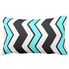 Bold Throw Pillow; Black, White & Teal ChevronBold Throw Pillow; Black, White & Teal Chevron Pattern