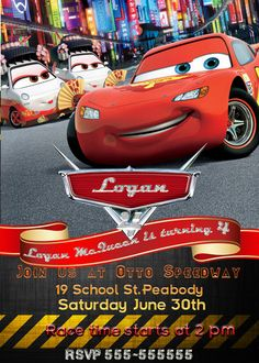 SALE 50 Disney Cars Birthday Invitation  Printable by vitalydi, $5.00