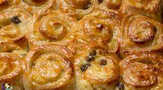 Hefe-Schneckenkuchen mit Pudding und Rosinen
