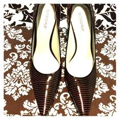 BCBG Black with pink pin stripes heels Classy classy classy!! Pointed toe, black with pink pin stripe heels. Patent leather in excellent condition. BCBGirls Shoes Heels