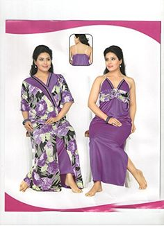 2ac7101a8d Indiatrendzs Womens Silk Satin 2pc set Nighty Purple Sexy Evening wear freesize  Indiatrendzs http