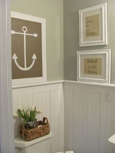 Like the shell in my pocket/sand in my toes wall art.                               Anchored- Bath Design (City Farmhouse)