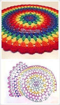 42 Trendy Crochet Mandala Cushion Circles Knitting PatternsKnitting For KidsCrochet PatronesCrochet Scarf Crochet Mandala Pattern, Crochet Circles, Crochet Diagram, Crochet Squares, Crochet Doilies, Afghan Crochet, Granny Squares, Crochet Lace, Crochet Crafts