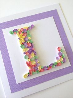 Handmade Quilled Card. Monogram Initial birthday card. Customise with any Letter.