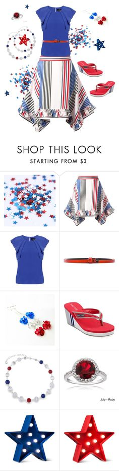 """July 4th delight"" by valorierose ❤ liked on Polyvore featuring MSGM, Emily Lovelock, Haider Ackermann, Nautica, Gloria Vanderbilt, Glitzy Rocks and POPTIMISM!"