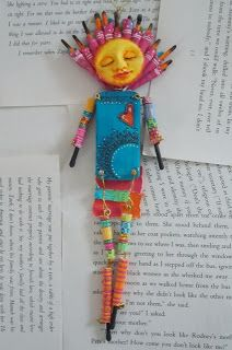 Original pinner says: My newest finished art doll. Created from a domino, vintage book pages, polymer clay, brass wire, acrylic paint, Sharpie extra fine point black marker and Gelly Roll white pen. copyright 2013, june crawford, ACreativeDream