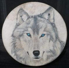 Wolf drum Old Blue Eyes Hand Drum by LovingArtHandDrums on Etsy