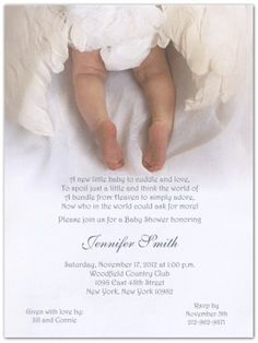 #manythings Baby Shower Invitations: #From #Heaven Above is a beautifully photographed baby shower invitations depicting the diapered derriere of a baby surrounde...
