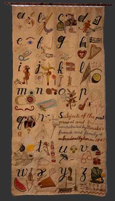 Mariska Karasz - Alphabet, ca 1947 Mixed fibers, metal wire, and plastic on linen with wooden dowel, approx. 53 x 26 1/4 inches