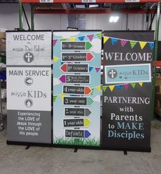 Displayit at Church provides beautiful portable displays for churches. Browse products for mobile and permanent church environments. Portable Signs, Portable Display, Retractable Banner, Kids Ministry, Church Banners, Banner Stands, Church Design, Kids Church, Signage