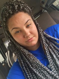 white grey gray hair box braids jumbo braids poetic justice braids