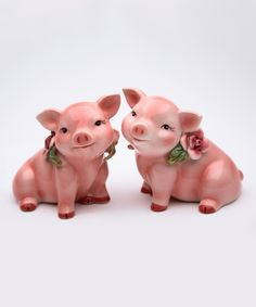 Look at this Rose Piggy Salt & Pepper Shakers on #zulily today!