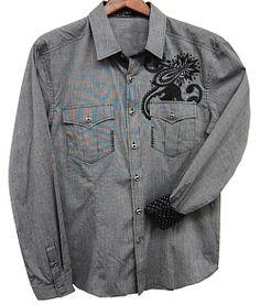 Toku Clothing Grey Pinstripe Shirt $89.98