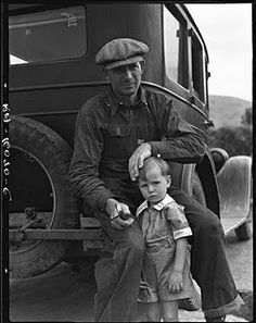 Drought refugee from Polk, Missouri,  awaiting the opening of the orange-picking season at Porterville, California, 1936 by  Dorothea Lange