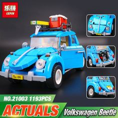 2017 LEPIN 21003 Series City Car Volkswagen Beetle model Building Blocks Compatible Blue Technic Car Toy 05007