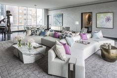 Interesting intersecting seating arrangement in this NYC One57 model apartment by living room by Drake/Anderson.