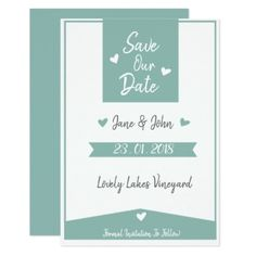 #Beautiful Light Sage Coloured Save the Dates Card - #bride gifts #bridal ideas unique personalize