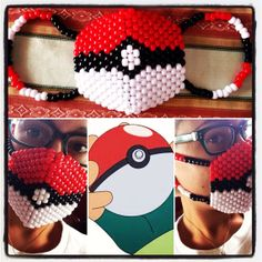 Pokemon Pokeball Kandi Mask on Etsy, $20.00