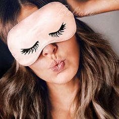 Sleep mask/ Silk Sleep mask with embroidery/ Silk Sleep eye Selena Gomez, Watermelon Glow Sleeping Mask, Party Eyes, Rihanna, Rosie Huntington Whiteley, Mink Eyelashes, Thicker Eyelashes, Sleep Mask, Bandeau