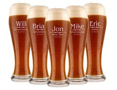 Groomsmen Gift, 3 Personalized Beer Glasses, Custom Engraved Pilsner Glass, Wedding Party Gifts, Gifts for Groomsmen, 16oz Glasses