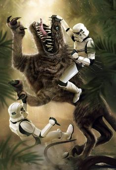 Stormtroopers vs. Nexu. Who wins?  Art by Marietta Ivanova - #starwarsfanart #starwarsart #starwars