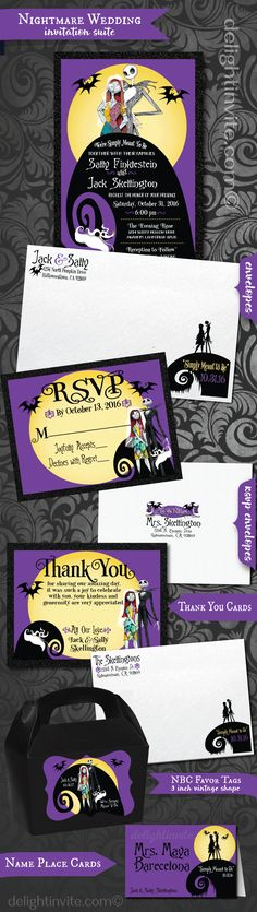 EUREKA! Check out this gorgeous Nightmare Before Christmas wedding ensemble. We have matching RSVP cards, thank you cards, favor tags, name place cards, water bottle labels, and menus!